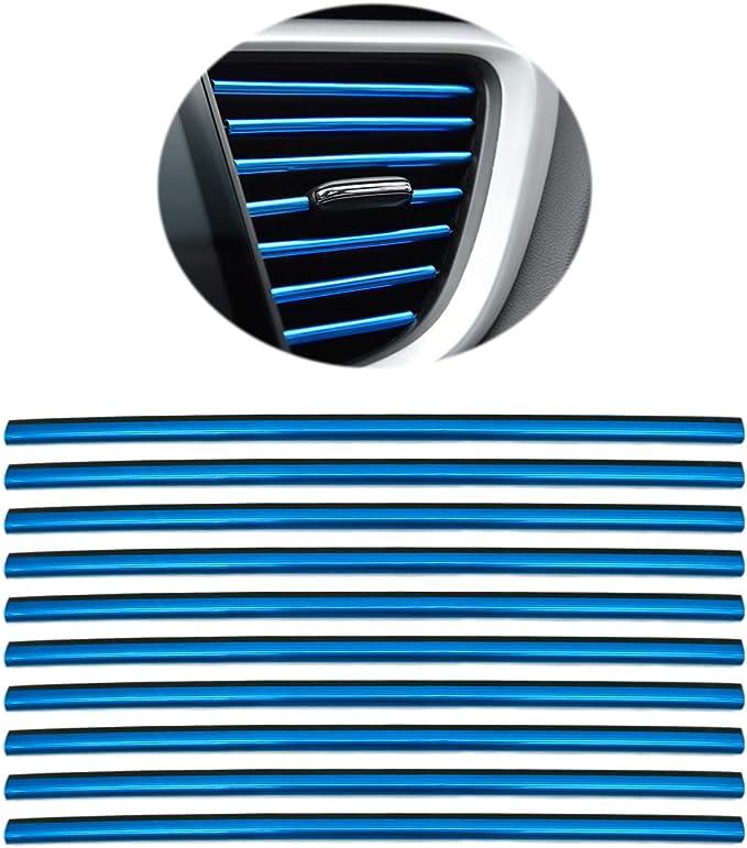 10 Stück Auto Lüftungsschlitz Auslassleiste Auto Innen Zierleisten Auto Lüftungsgitter Auslass Zierleiste Trim Leiste Innenverkleidung Dekoration Blau Auto