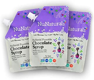 Sponsored Ad - NuNaturals Chocolate Syrup, Natural Plant Based Sweetener, Sugar-Free, 3 Pack 6.6 oz