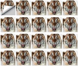 MOOCOM Safari Decor Durable Ceramic Tile Stickers,The Siberian Tiger Roar Teeth Golden Eyes Stripes Whiskers Attack Predator White Background for Kitchen Living Room,5.9 x 5.9 inch (20PCS/Set)