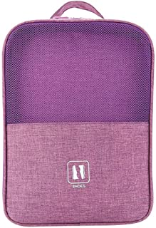 Hamkaw Portable Travel Shoe Bag Multi Compartment Travel Shoe Bag for Suitcase Space Saving Shoe Storage Bag Purple