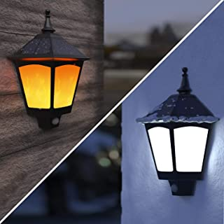 Solar Lights Outdoor Decorative - ALOVECO 2 in 1 Solar Wall Sconce, Solar Torch Lights with Flickering Flame, 87 LEDs Solar Motion