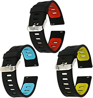 EL-move 22mm Silicone Wristwatch Watch Band Watchband Fitness Sport Bracelet Strap For Samsung Gear S3 Frontier/S3 Classic/Samsung Gear 2/Pebble Time/LG W100 (BKYL+BKRD+BKBL 3pcs)