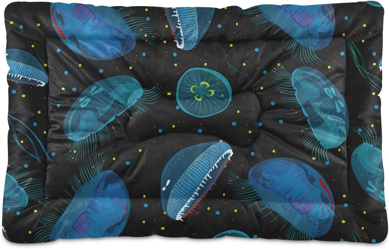 Dog Oakland Mall Ranking TOP10 Bed Jellyfish Ocean Blue Animal Washa Mattress Crate Mat