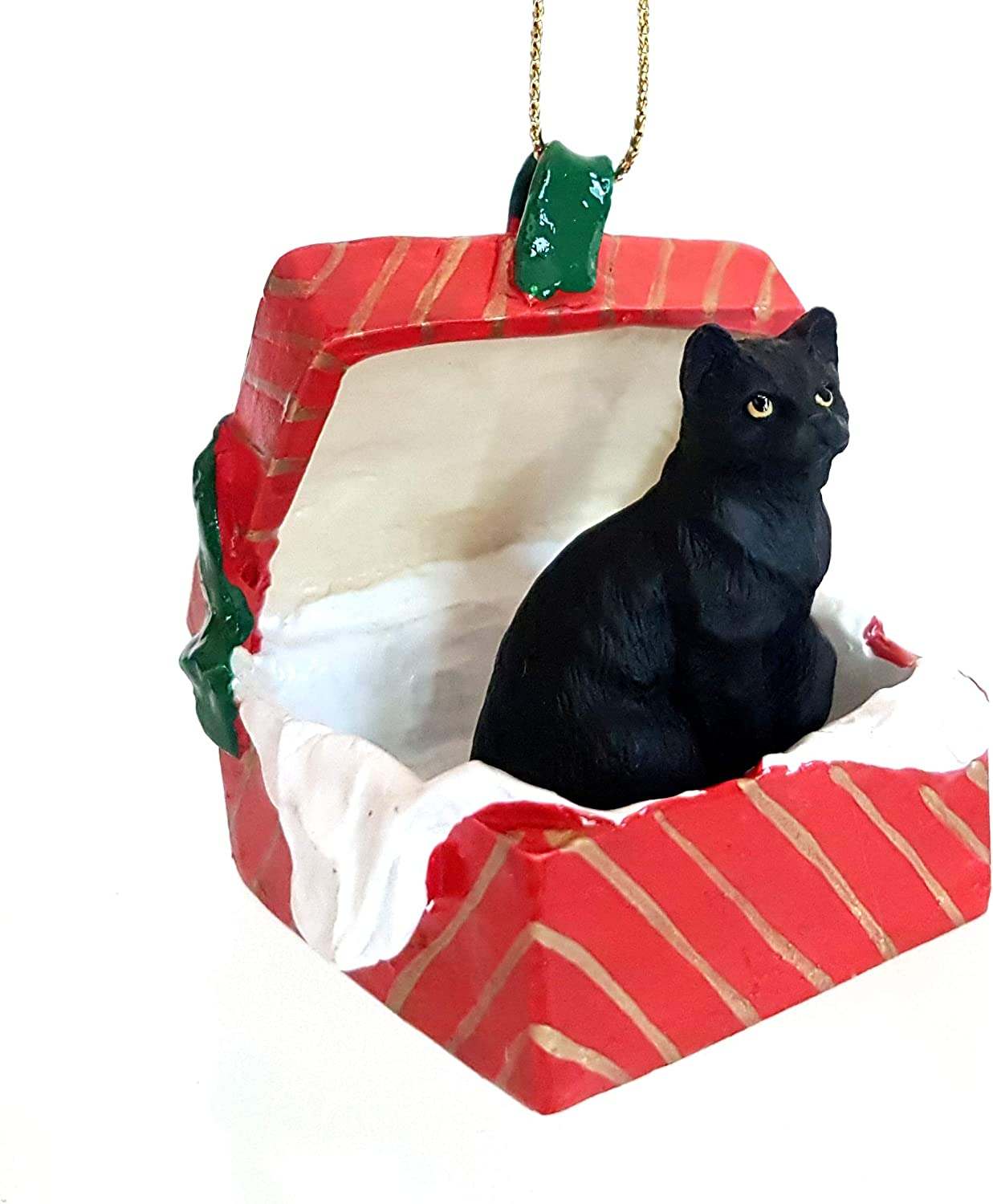Conversation Concepts Black Shorthaired Tabby Cat Gift Box Red Ornament