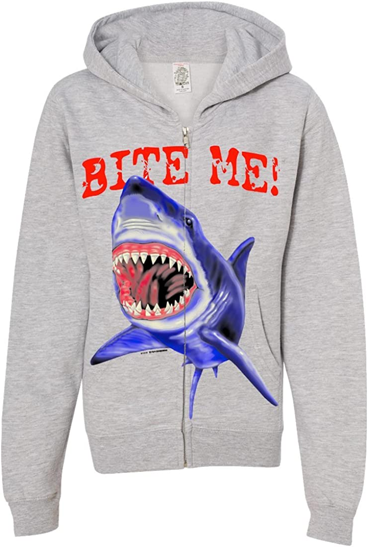 Bite Me Great White Shark Youth Zip-Up Hoodie