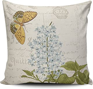 SALLEING Custom Fashion Home Decor Pillowcase Embroidered Flower and Butterfly Euro Square Throw Pillow Cover Cushion Case 26x26 Inches One Sided Print