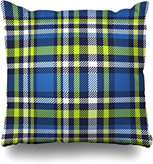 ArtsDecor Throw Pillow Covers Cases Gingham Green Abstract Plaid Check Pattern Cobalt Blue Stripe Navy Border Bright Checkered Classic Home Decor Cushion Square Size 20