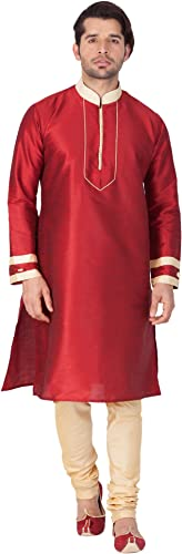Royal Kurta Vastramay Hommes's Cotton Silk Kurta & Pyjama Set 44 rouge