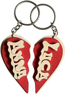 Portachiavi in legno personalizzato a cuore spezzato con nome o data, fatto a mano, da indossare o per fare un regalo orig...