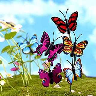 yanQxIzbiu Garden Resin Decor, 4 Pcs 3D Butterfly Miniature Fairy Garden Ornament Plant Pot DIY Craft Decor- Best Indoor Outdoor Decorations for Patio Yard Office and House