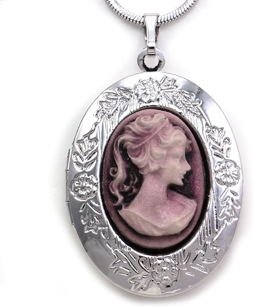 Soulbreezecollection Purple Cameo Large discharge sale Custom Locket Necklace Pendant Year-end gift
