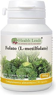 Folato L-metilfolato 400μg x90 cápsulas, 5-MTHF Forma activa de ácido fólico-vitamina B9, Apoya el crecimiento normal del tejido materno durante el embarazo, Sin estearato de magnesio, Hecho en Gales