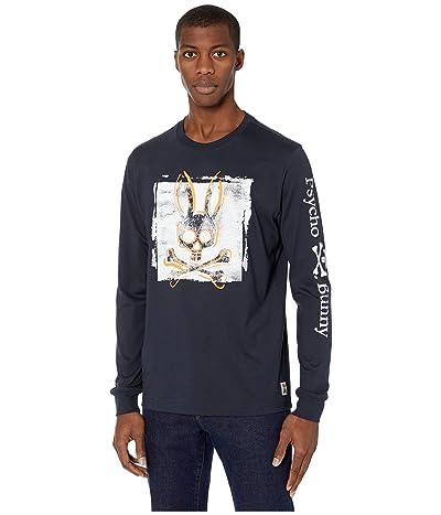 Psycho Bunny Lanyard Long Sleeve T-Shirt (Navy) Men