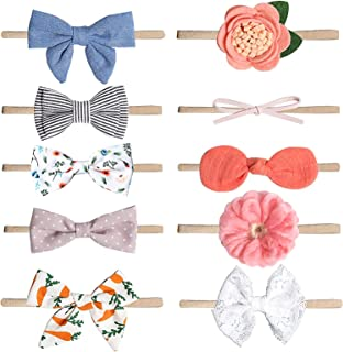 Baby Headbands Nylon Bowknot Style Elastic Hair Band, Suprcrne Accessories for Infant Toddler and Baby Girl as Photography...