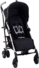 My Babiie US51 Black Baby Stroller – Silver Frame and Black Fabrics – Lightweight Travel Stroller – Stylish Umbrella – Suitable from Birth to 33 lbs