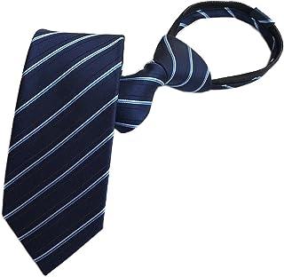 Secdtie Men's Boy's Zipper Tie Business Wedding Solid Checks Striped Designer Necktie