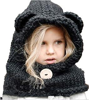 284a14ea28de4 Freessom Bonnet Echarpe Cape Hiver Cagoule Ours Unisexe Bebe Enfant Garcon  Fille Mignon Kawaii Chaud Tricote