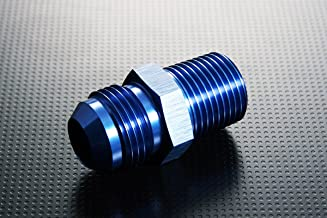 Autobahn88 Aluminum Oil Fitting - Straight Converter, Flare to Tube Pipe, Male to NPT Male, 12AN to 1/2 NPT, Blue