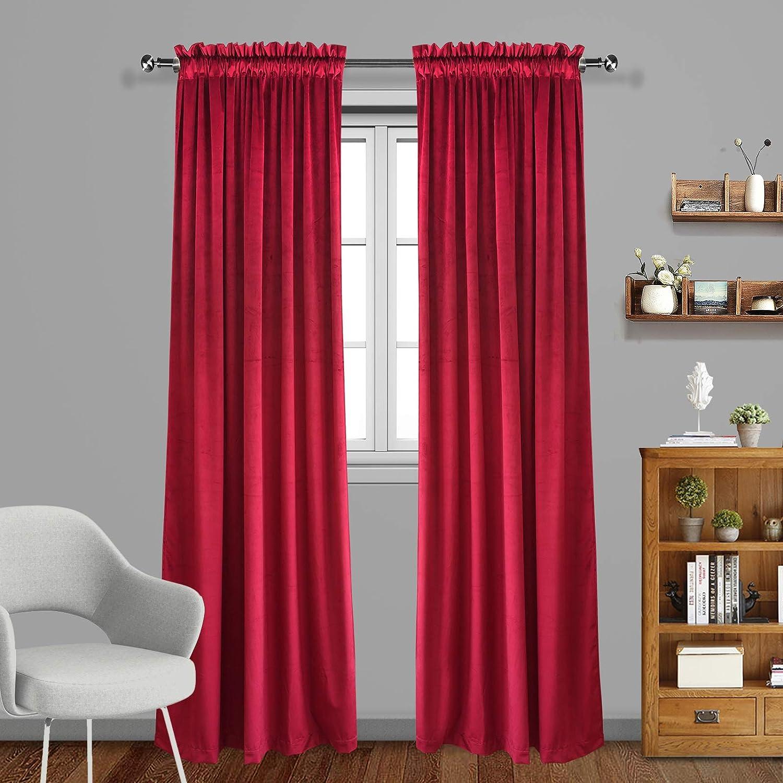 Eamior Living Room Blackout Velvet Curtains - Super Soft Dutch Velvet Rod Pocket Drapes Sound Reducing Heavy Solid Panels (Set of 2, 120 inch Long, Ruby Red)