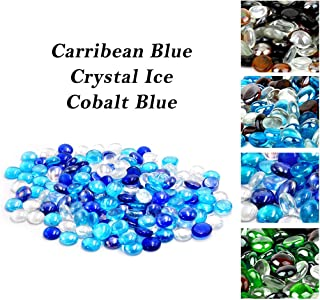 Skyflame 10-Pound Blended Fire Glass Beads for Fire Pit Fireplace Landscaping, 3/4-Inch Cobalt Blue, Crystal Ice, Caribbean Blue Luster