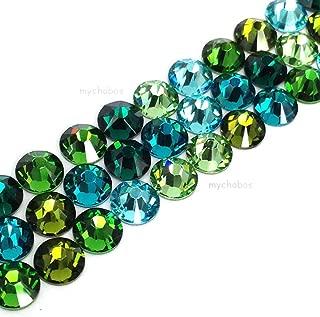 144 pcs (1 gross) Swarovski 2058 Xilion / 2088 Xirius Rose crystal flat backs No-Hotfix rhinestones nail art GREEN & TEAL Colors Mix ss7 (2.2mm) **FREE Shipping from Mychobos (Crystal-Wholesale)**