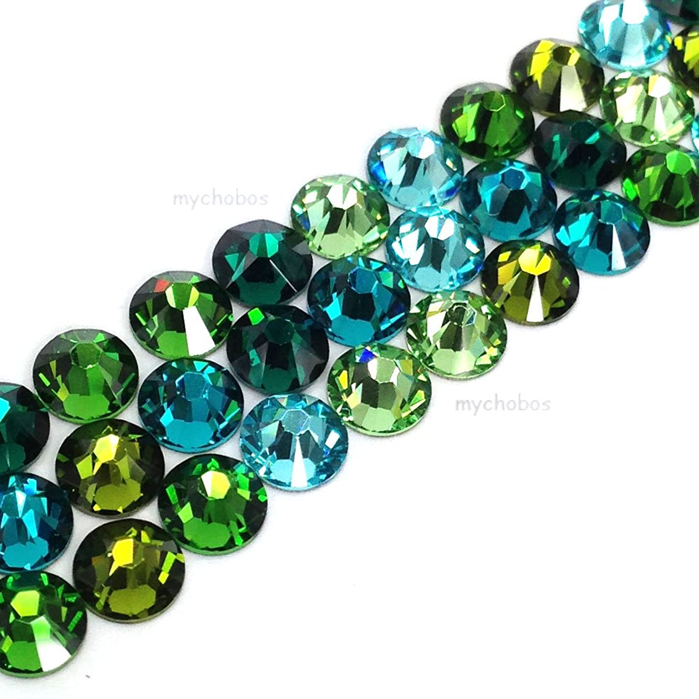 144 Swarovski 2058 Xilion / 2088 Xirius Rose crystal flat backs No-Hotfix rhinestones GREEN & TEAL Colors Mix ss20 (4.7mm) mpvbekkfglgem308