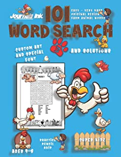 101 Word Search for Kids 3: SUPER KIDZ Book. Children - Ages 4-8 (US Edition). Chicken Friends OK. Farm Animal Words w cus...