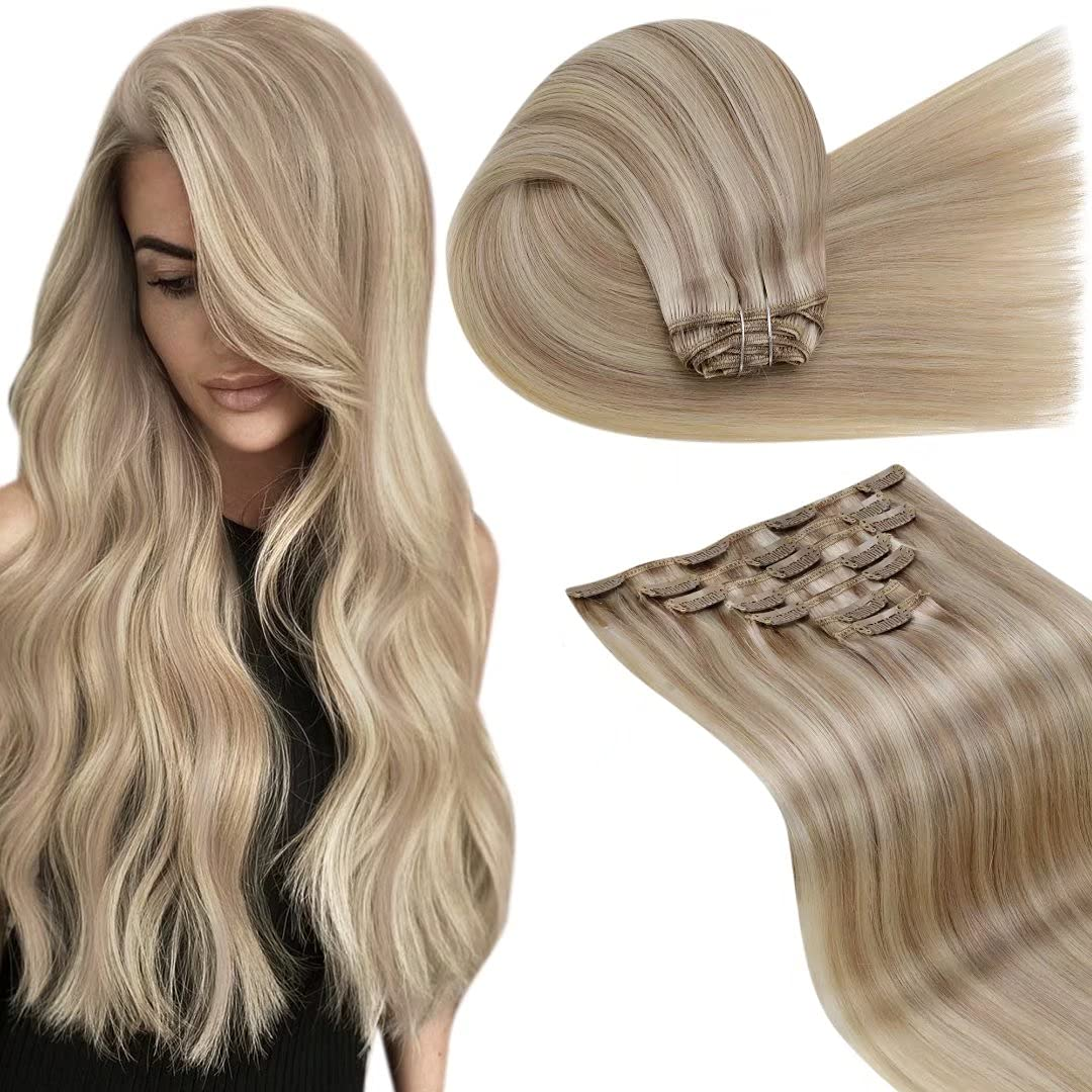 LaaVoo Clip in Human Hair Blonde Oakland Mall Exte Max 46% OFF Highlights Extensions