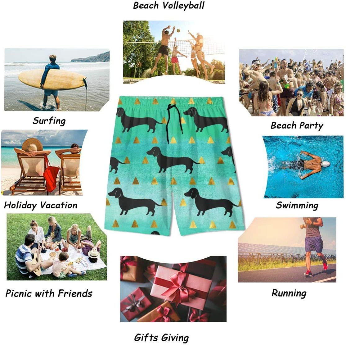 xqqr Boys Beach Board Shorts Colorful Dachshund Funny Dog Golden Youth Swimming Casual Swimwear
