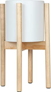 Brightech Cora – Ceramic Planter Pot & Wood Stand Set for Plants, for Indoor Use - Matches Mid Century Modern Living Rooms - Container Box for Patio, Deck, Porch, Garden, Lawn - Natural Wood