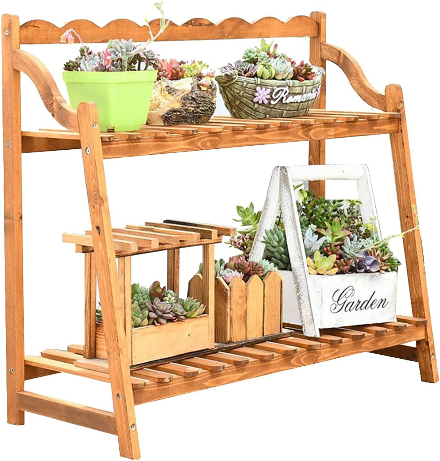 AJZGFOutdoor Indoor Display Plant Stand Solid Wood Shelf, Succulent Plant Racks, Multi-Layer Wooden Shelves. (Size   50  20  58cm)