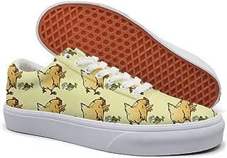 KKLDFD Chicken Frog Glycerophospholipid Sphingosine Canvas Low-top Slip On Shoes ForMen Casual White