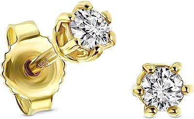 Miore pendientes 6 garras con presion oro blanco/oro amarillo 14 kt 585 con diamantes talla brillante 0,25 ct