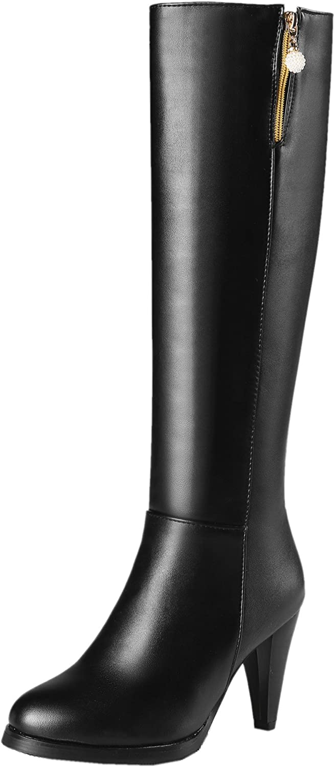 Rongzhi Womens Knee High Boots Stilettos Pumps Heels Zip Motorcycle Pointed Toe Pendant Knight Boots