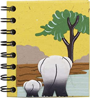 Mr. Ellie Pooh Handmade Fair Trade Elephant Dung Paper Momma Baby Butt Yellow Pocket Notebook