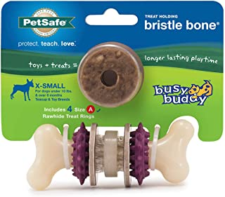 PetSafe Busy Buddy Bristle Bone Chew Toy for Dogs – Strong Chewers – Helps Clean Teeth – Extra Small, Small, Medium, Large