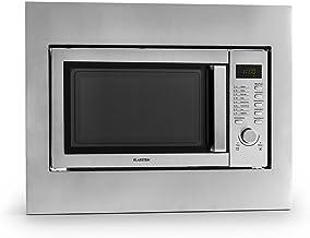 Klarstein Steelwave Mikrowellenofen - Mikrowelle mit Grill, Kombinationsgerät, Einbaurahmen, 800 W Mikrowellenleistung, 1000 W Grillleistung, 23 Liter Garraum, LCD-Display, Timer, silber