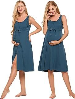 a0b64b35f8a Ekouaer Women s Maternity Dress Pregnant Nursing Elegant Nightgown  Breastfeeding Sleepwear ...