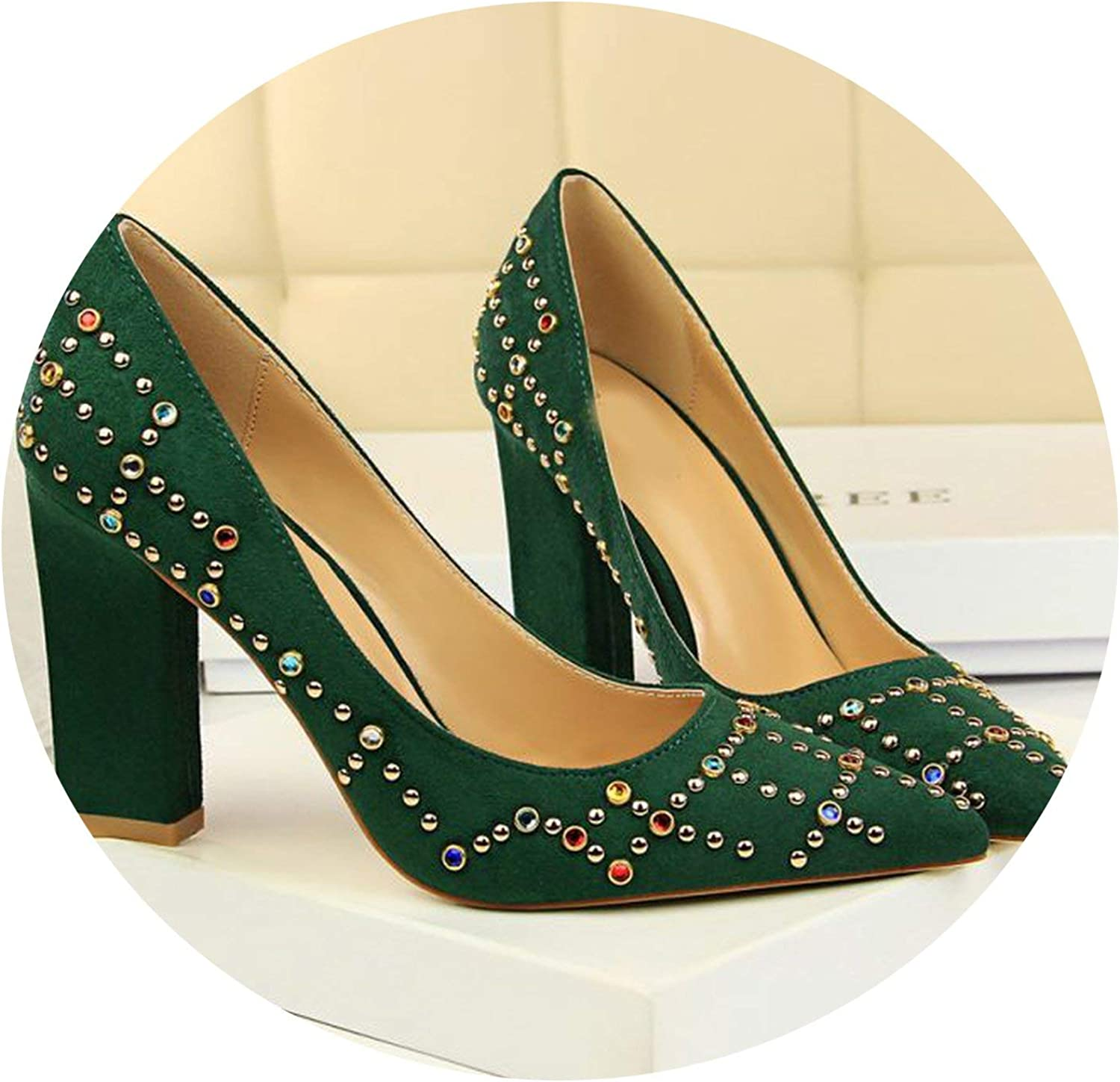 Mr Z Waroom Women Pumps Pointed Toe Shallow Thick Heels Flock color Crystal Women's High Heels shoes Ethnic Madam Pumps