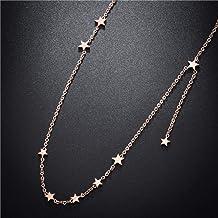 Dames ketting persoonlijkheid titanium staal 18K rose gouden ster ketting damesmode gypsophila sleutelbeen ketting