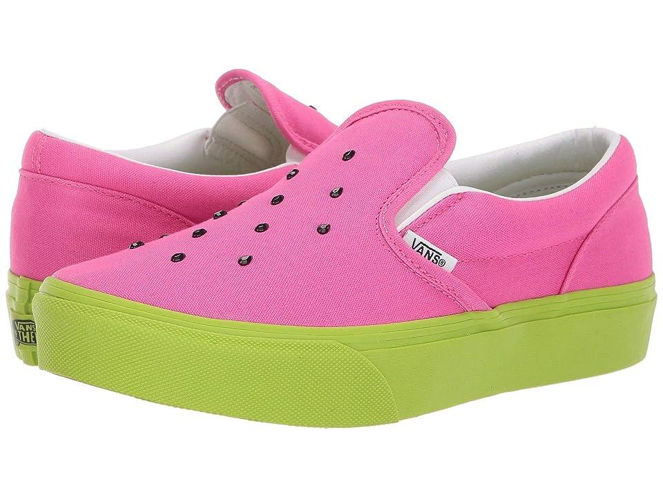Vans Kids Classic Slip-On Platform (Little Kid/Big Kid) ((Watermelon) Carmine Rose/Lime Green) Girls Shoes
