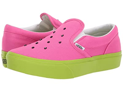Vans Kids Classic Slip-On Platform (Little Kid/Big Kid) ((Watermelon) Carmine Rose/Lime Green) Girls Shoes