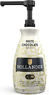 White Chocolate Café Sauce by Hollander Chocolate Co. | For Real White Chocolate Mochas | Perfect for the Professional or Home Barista - Net Wt. 91oz (64 fl. Oz.) Large Bottle (PUMP Included)
