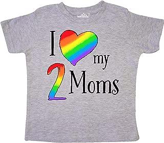 I Love My 2 Moms- Pride Rainbow Heart Toddler T-Shirt
