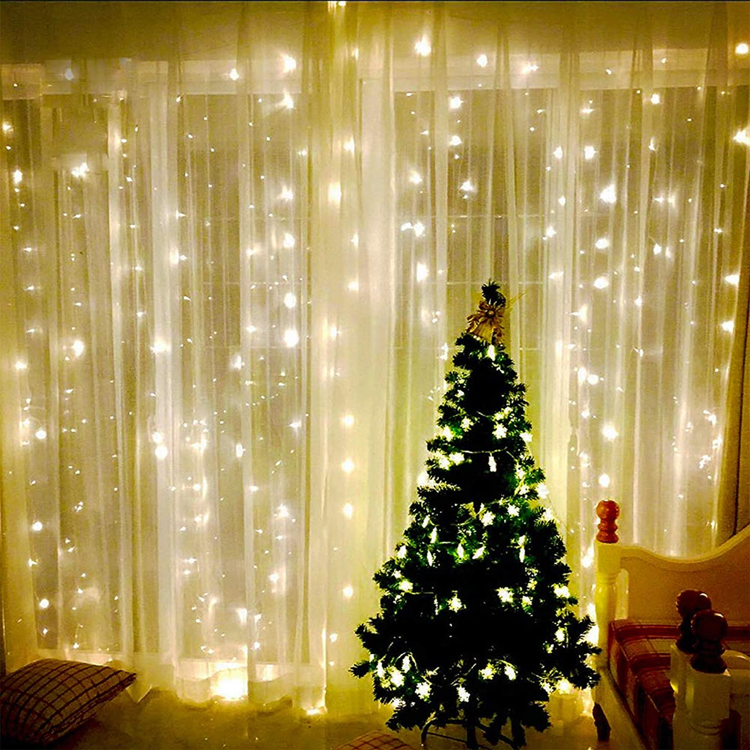 LED Window Curtain Lights, JESLED 600 LEDs Curtain Icicle Light String for Wedding Party, Warm White, 19.6ft x 9.8ft/6x3m, 8 Modes Setting, Home Garden Bedroom Outdoor Indoor Wall Backdrop Decorations
