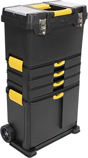 Erie Tools Heavy-Duty Portable Toolbox Organizer with Foldable Auto-Locking Handle & (3) Detachable Storage Compartments: image