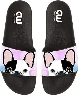 Cartoon French Bulldog Print Summer Slide Slippers for Men Women Kid Indoor Open-Toe Sandal Shoes