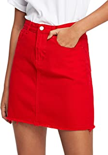 ladies red denim skirt