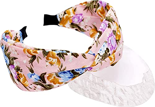 Vogue Hair Accessories Floral Printed Fabric Knot Metal Hairband Headband