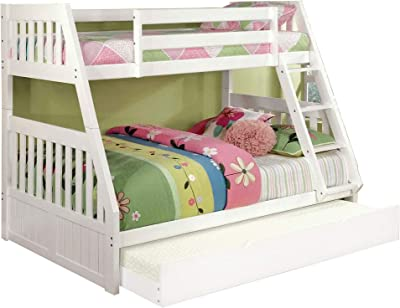 Benjara Mission Style Twin Over Full Size Bed with Attached Ladder, White